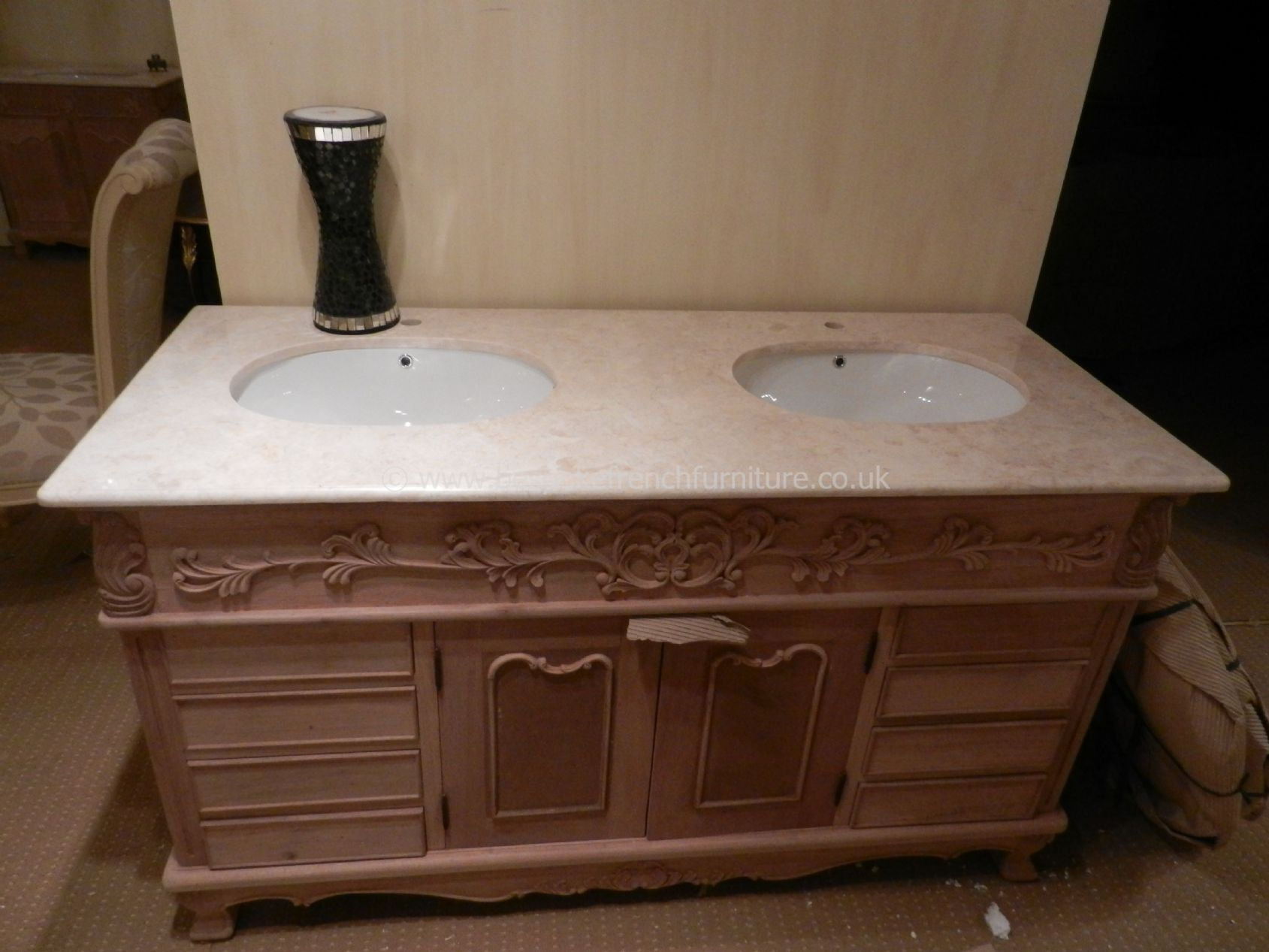 French style bathroom vanity units - Bespoke Double Bowl Sink Vanity Unit With Solid Marble Top